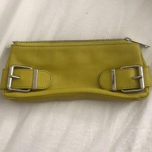 Double buckle Banana Republic leather clutch